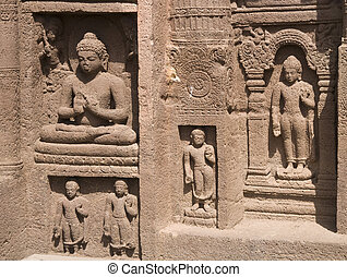 Religious Carvings at Ajanta Caves - Religious figures...