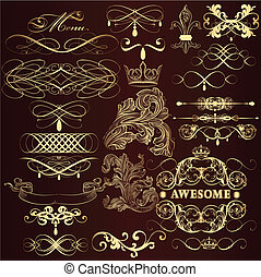 Golden decorative elements set in - Vector set of...