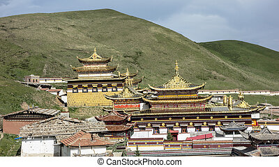 Golden roof of Langmusi temple , sichuan, china
