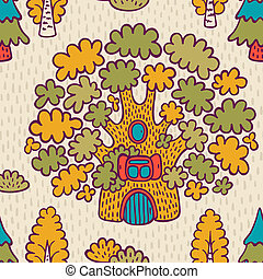 Seamless pattern with oaks - Cute cartoon seamless pattern...