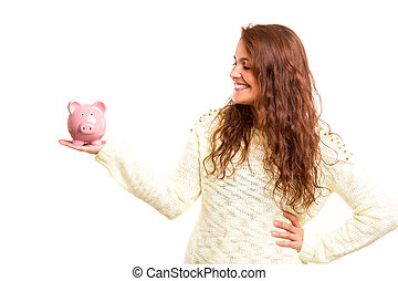 Savings concept - Young woman presenting a piggy bank (money...