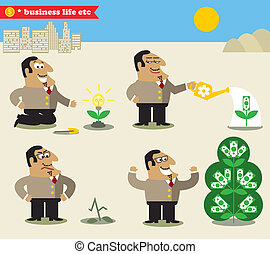 Boss watering tree from idea to profit - Business life Boss...