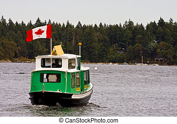 Nanaimo Ferry - A green Canadian ferry crossing the bay