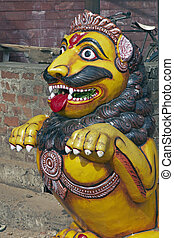 Mythological Creature - Statue of a lion guarding the...