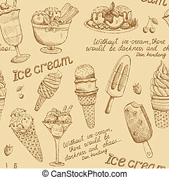 Ice cream vintage pattern background vector illustration