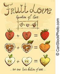 Fruit love formula vintage poster vector illustration