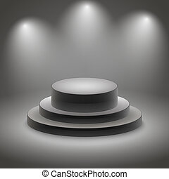 Black empty illuminated podium vector illustration
