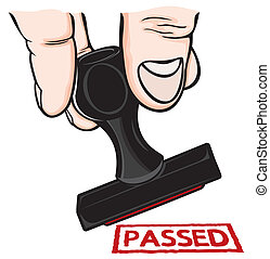 Rubber stamp with the word passed