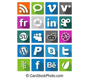 20 Flat Color Icon - 20 flat icon logo can use for mobile...