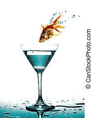 dorado, Plano de fondo, pez, salto, vidrio, blanco,  martini