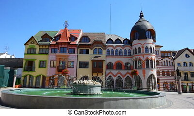 Fountain on Europe Square in sunny day, Komarno