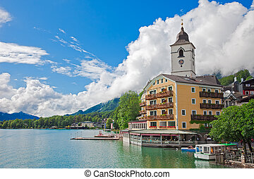 Village St. Wolfgang on the lake Wolfgangsee Austria - The...