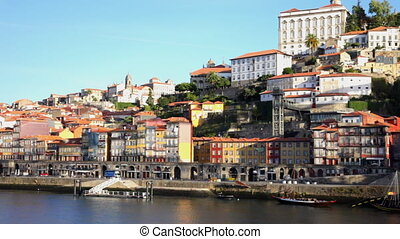 Enbankment of Porto in sunny day, Portugal - Panoramic view...