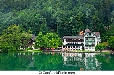 The beautiful house on the lake Wolfgangsee Austria (Village...