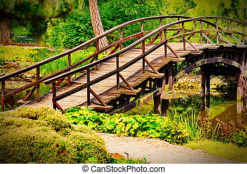 Traditional japanese bridge in Japanese garden