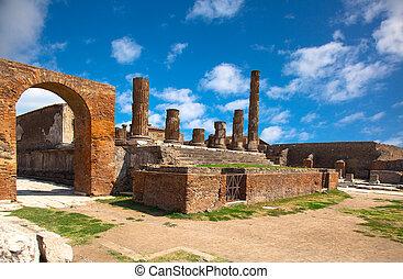 starożytny, Rzymski, Miasto, Pompeii, co, zburzony,...