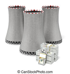Cooling tower and dollars isolated on a white background 3d...