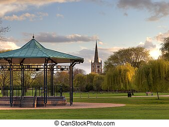 Bandstand at Stratford upon Avon - Bandstand and church at...