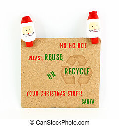 After Christmas card with environmental message with Santa...