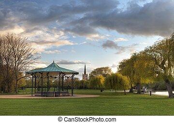 Park at Stratford upon Avon - Bandstand and church at...