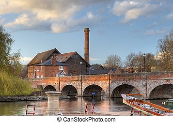 Stratford upon Avon - The old mill saw mill and foot bridge,...