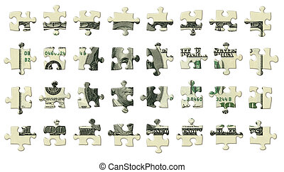 One Hundred Dollar Puzzle Pieces - Photo Illustration of a...