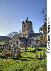 Cotswold church in winter, Gloucestershire, England