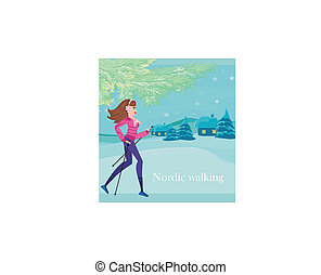 Nordic walking - active woman exercising in winter