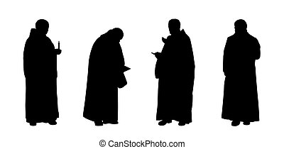 christian monks silhouettes set 1 - silhouettes of four...