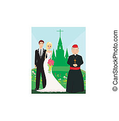 wedding couple and the priest in front of a church