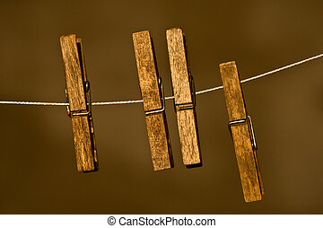 wood Clothespins  - metal rope with wood Clothespins
