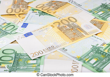 Euro banknotes spread over the floor - European currency