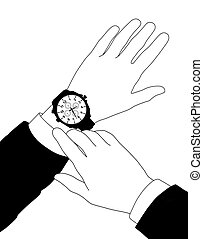 businessman checking time - zoom on the hands of a...