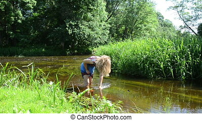 girl wipe palm stream - young lady palm wipe through the...