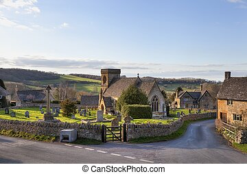 Snowshill village, Cotswolds - The pretty Cotswold church at...