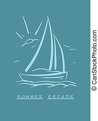 hand drawn background with sailboat. Vector eps8 - hand...