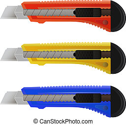 Set of colorful stationery knife on a white background
