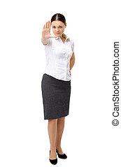 Anger woman signaling stop sign - Anger woman signaling stop...