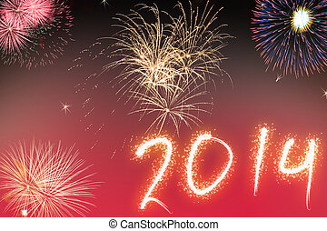 Beautiful colorful background for new years with fireworks -...
