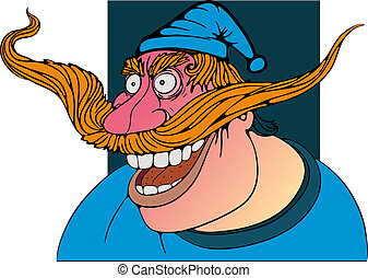 scary man - a man in a blue cap smiling, shouting,caricature...