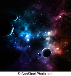 Galaxy background with planets, eps 10