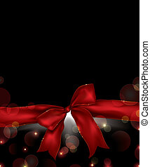 holiday background with red ribbon