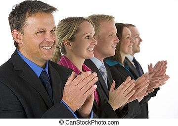 grupo, empresa / negocio, gente, aplaudiendo, línea,...