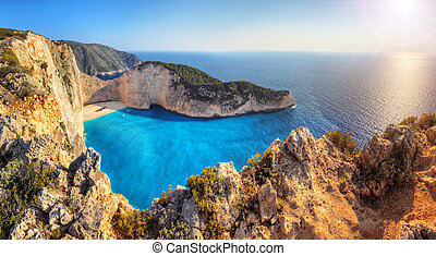 Shipwreck beach - Beautiful panorama of Navagio or Shipwreck...