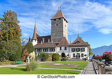 Spiez castle on lake Thun Jungfrau region, canton Bern,...
