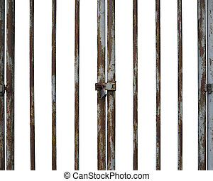 Rusty locked door in white background