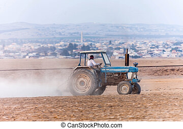 tractor working in agriculture
