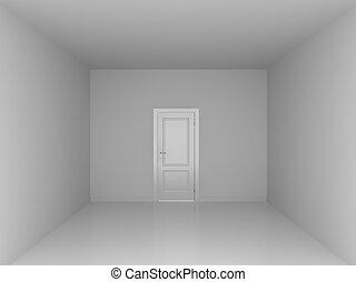 the door in empty room - quadrangle white empty room with...