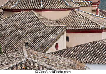 Tiled roof in Zahara de la Sierra town, Spain. This village...