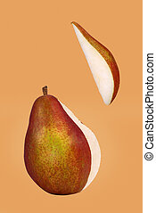 Red Pear - Red pear with segment cut out and separated